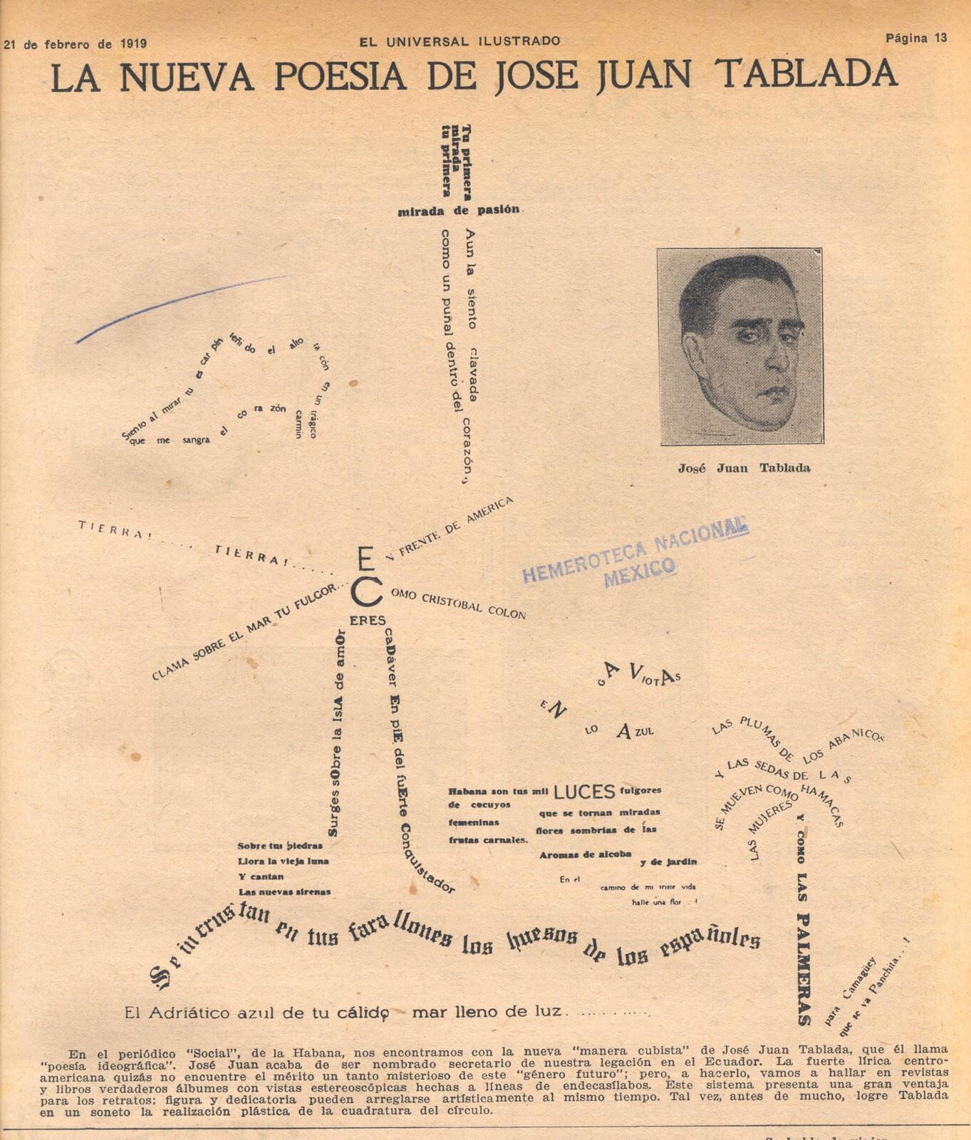 poema visual de José Juan Tablada; museos del INBA no tendrán exposiciones internacionales