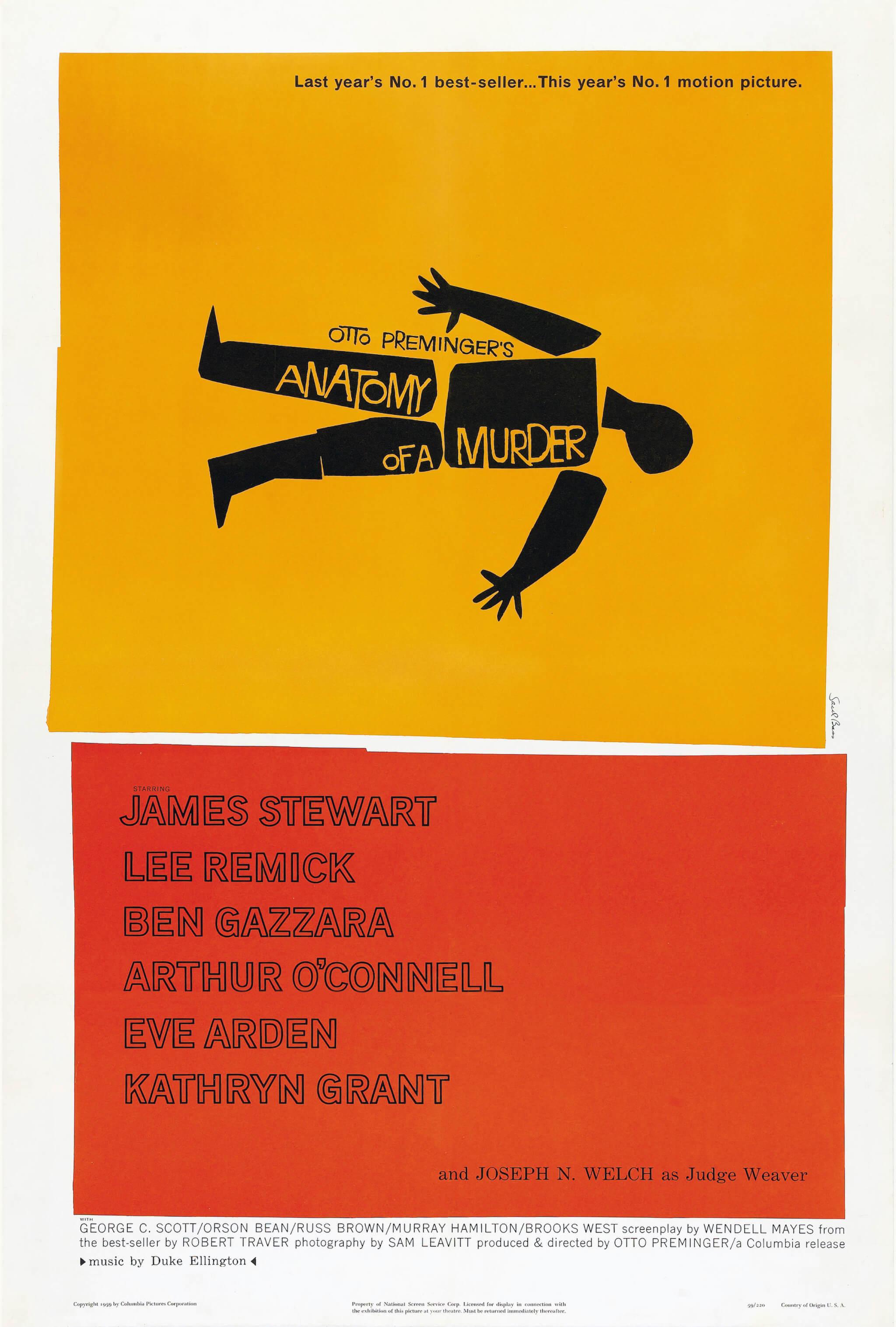poster de Anatomy of a Murder dentro de nuestra selección de los posters de películas artísticos