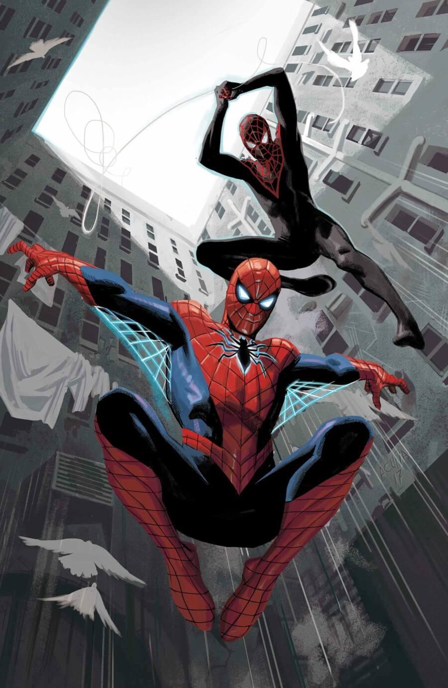 Spiderman y Miles Morales por Sara Pichelli