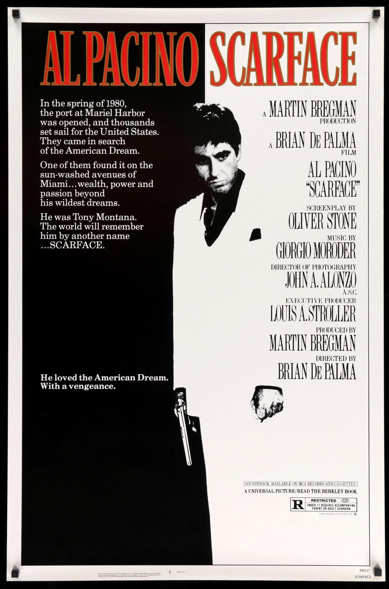 poster de Scarface dentro de nuestra selección de los posters de películas artísticos