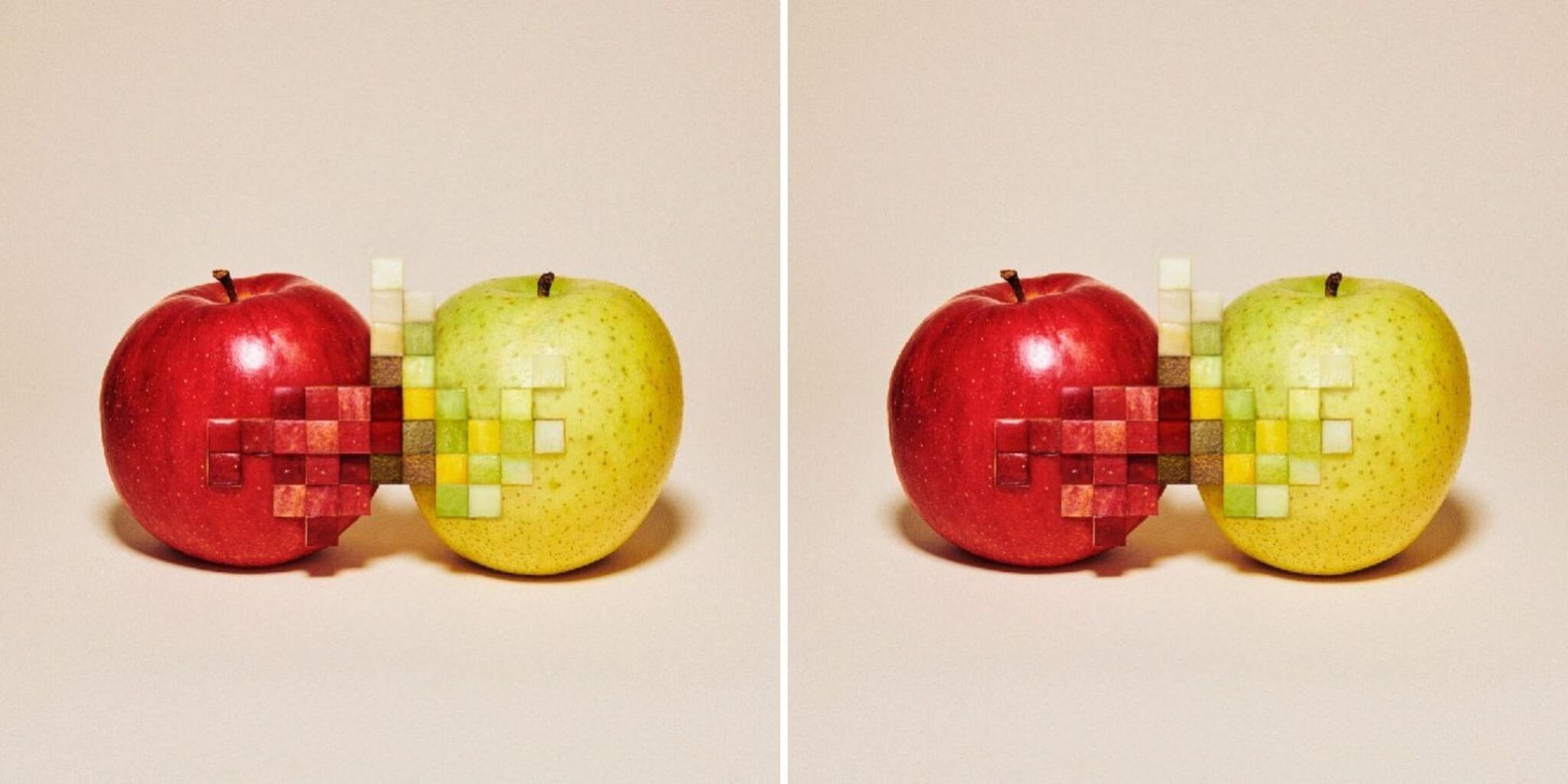 obra de pixeles con fruta