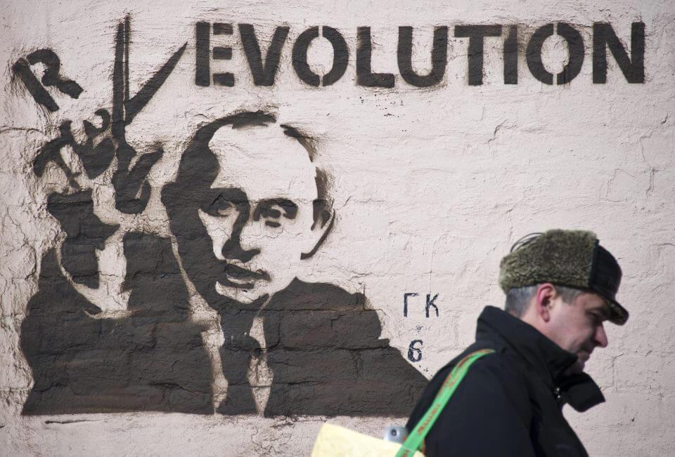 graffiti de Putin en Moscú