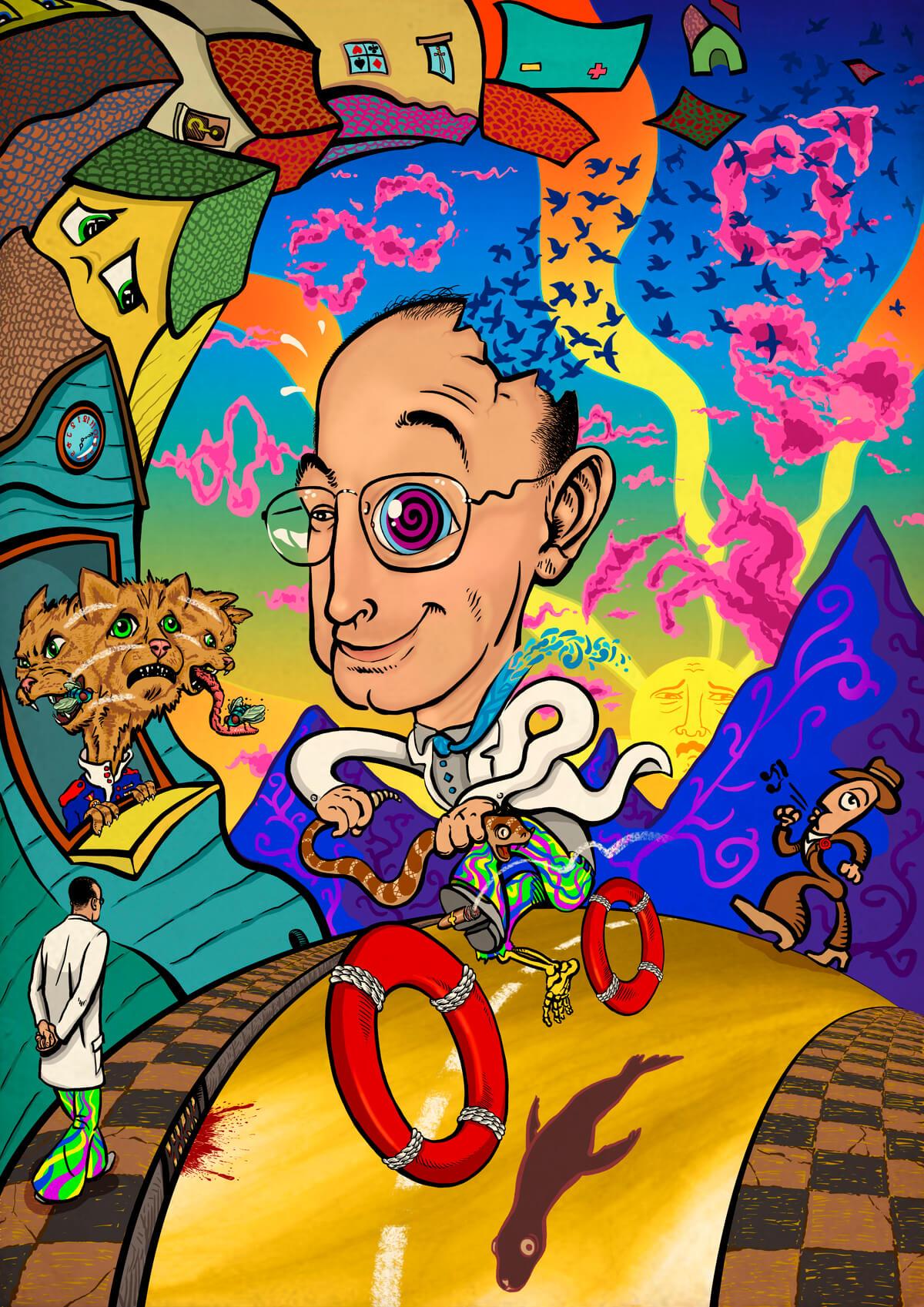 ilustración de viaje LSD