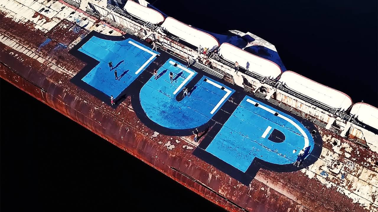 1UP y el barco en el MEditerráneo; el crew estará en el festival de arte urbano NuArt