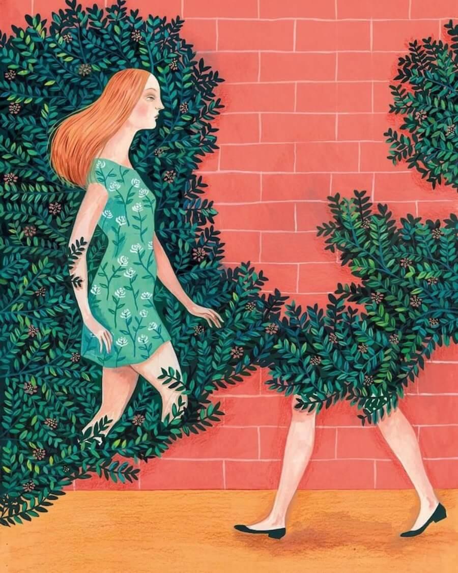 ilustraciones que conectan al humano con la naturaleza