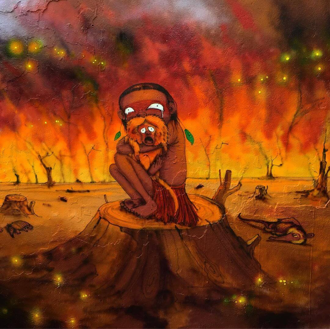 ilustración de Os Gemeos sobre el incendio en el Amazonas