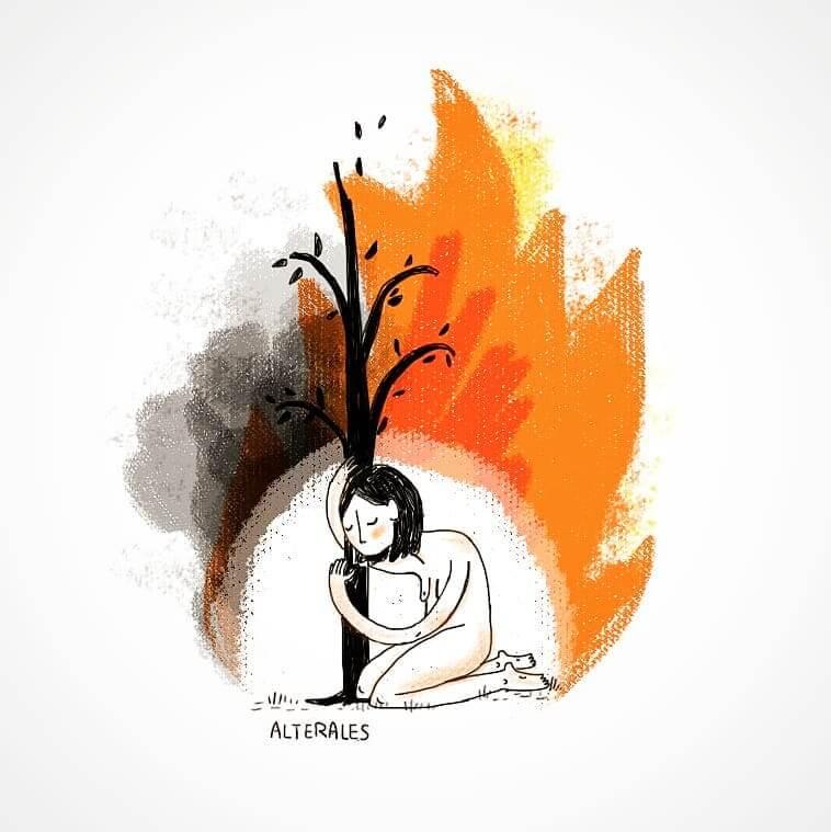 ilustración de Alterales sobre el incendio en el amazonas