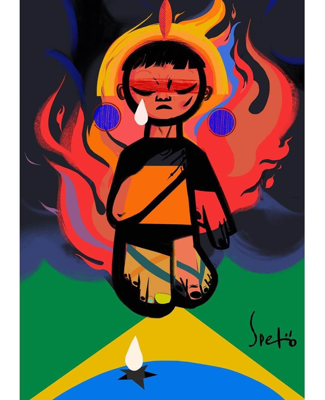 ilustración de Speto sobre el incendio en el Amazonas