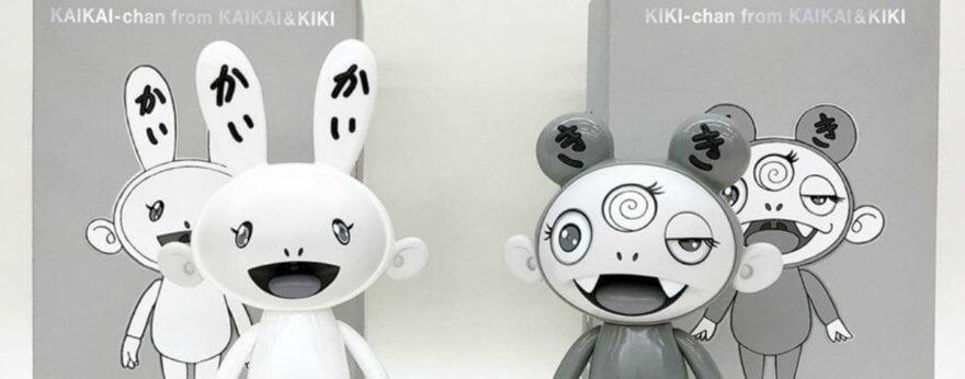 Kaikai y Kiki de Murakami en escala de grises
