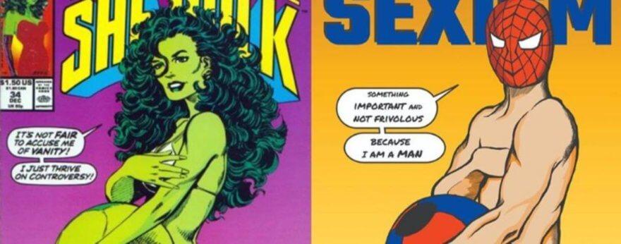 Superhéroes con poca ropa en contra del sexismo