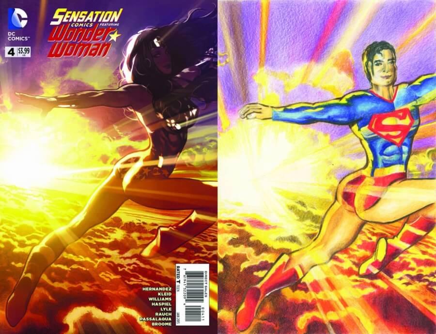 Superhéroes en poca ropa en ilustración