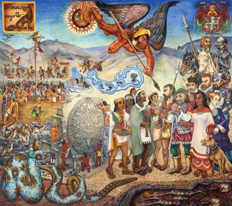 mural El primer encuentro de Aurora Reyes