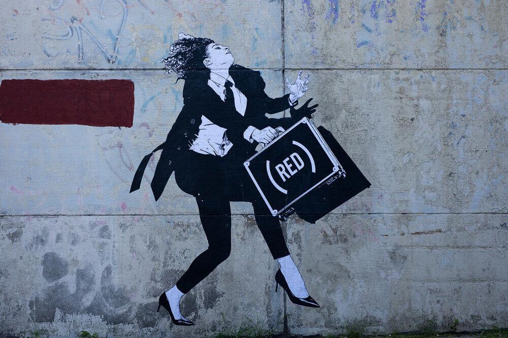 obra de street art de WK en Brooklyn