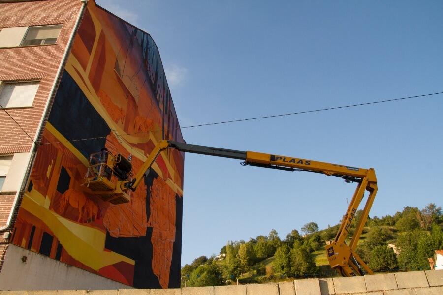 Proceso del mural de Matt Velvet
