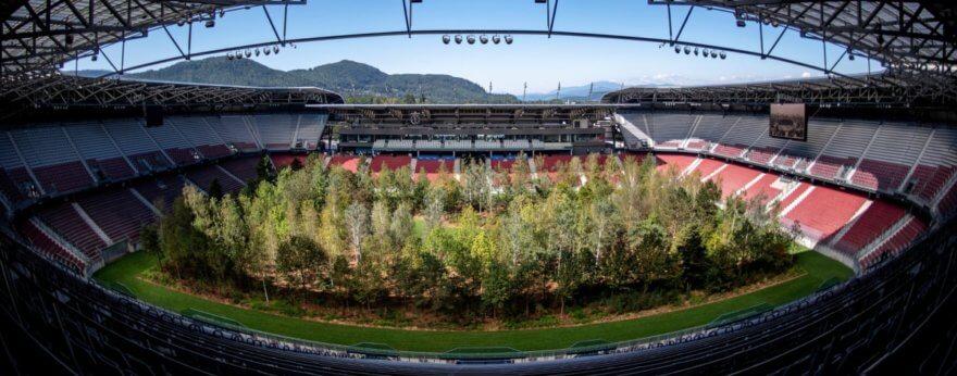 Klaus Littmann coloca árboles en estadio de fútbol