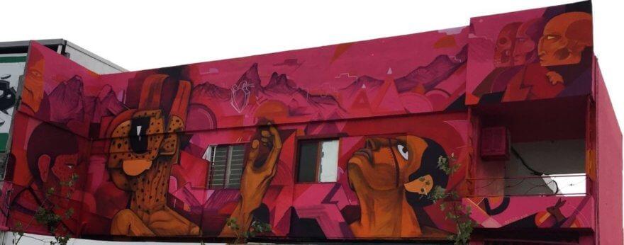 Saner crea mural en DistritoTec que dialoga con el de Gozález Camarena