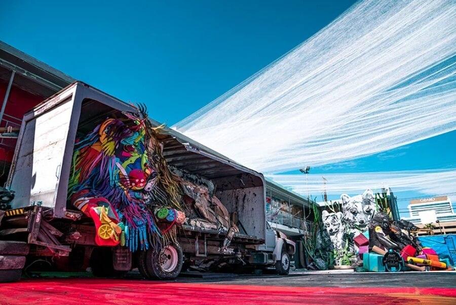 Street art con basura