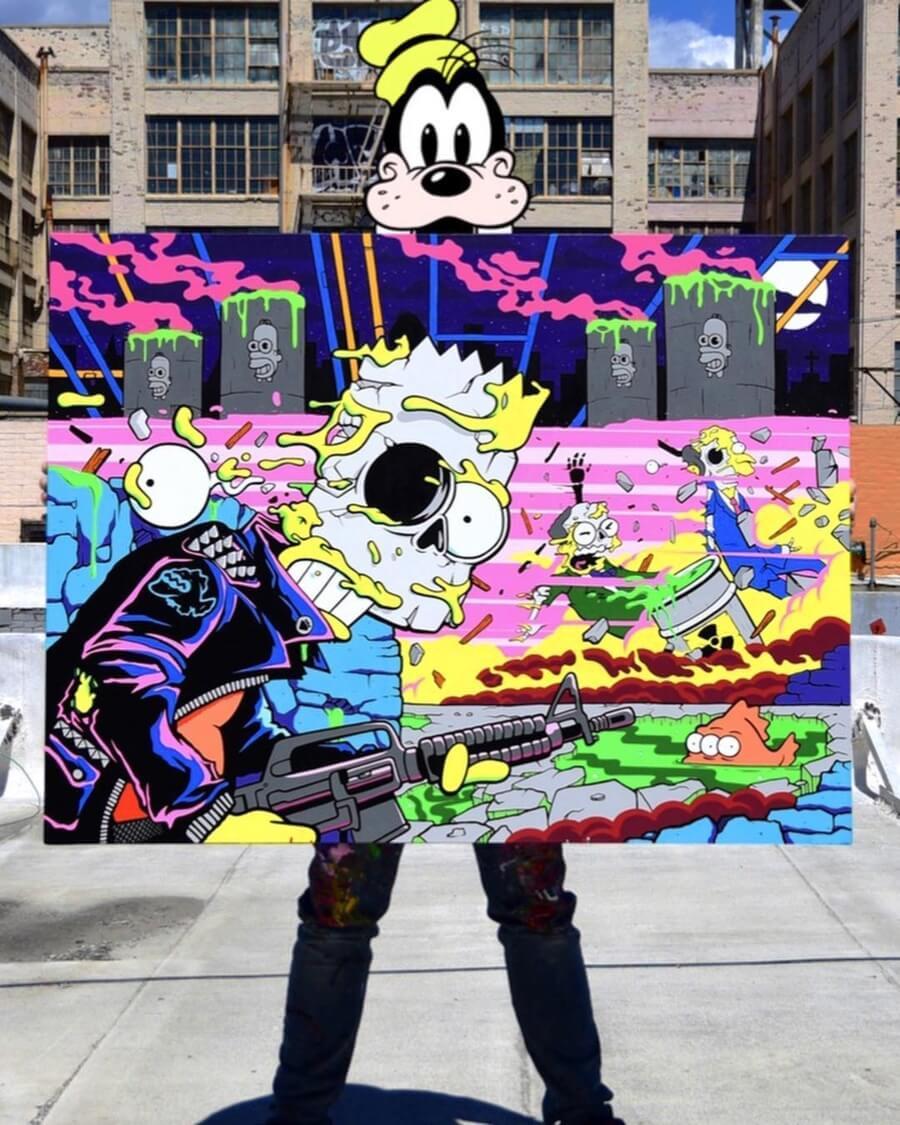 street art inspirado en la animación