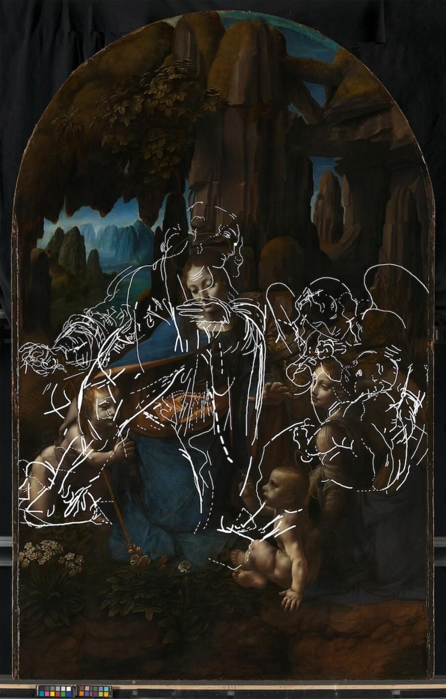 Bocetos de La Virgen de las Rocas de Da Vinci