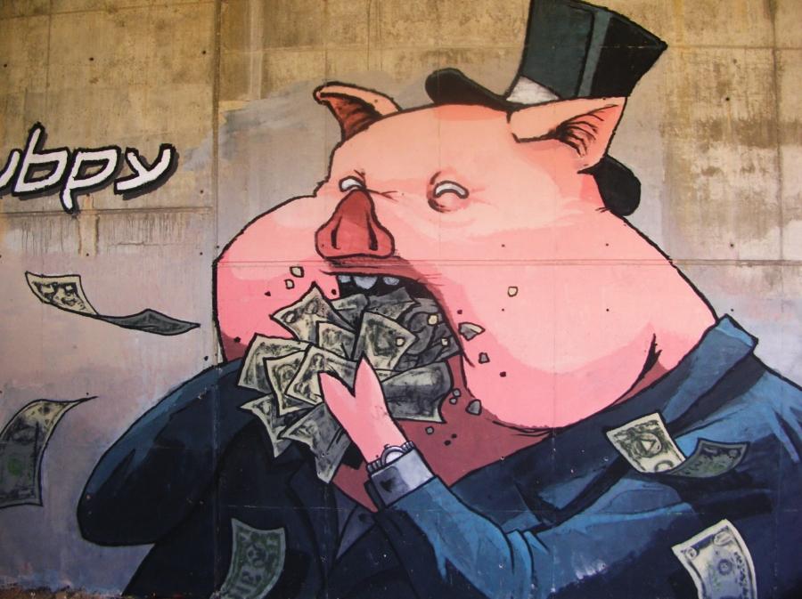 Mural de cerdito capitalista