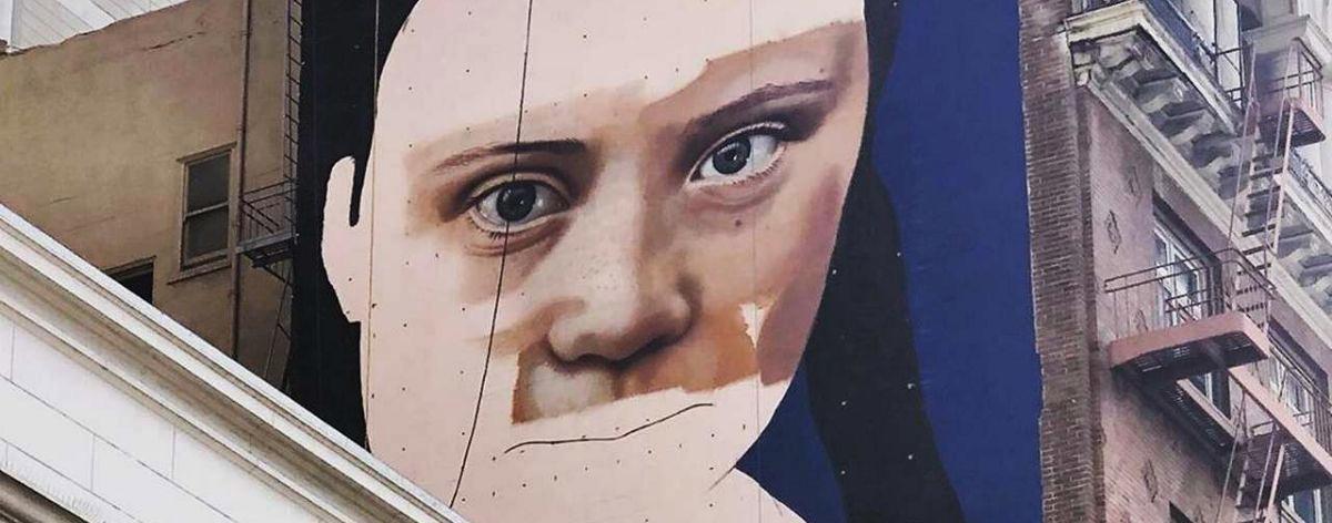 Mural de Greta Thunberg en San Francisco, California