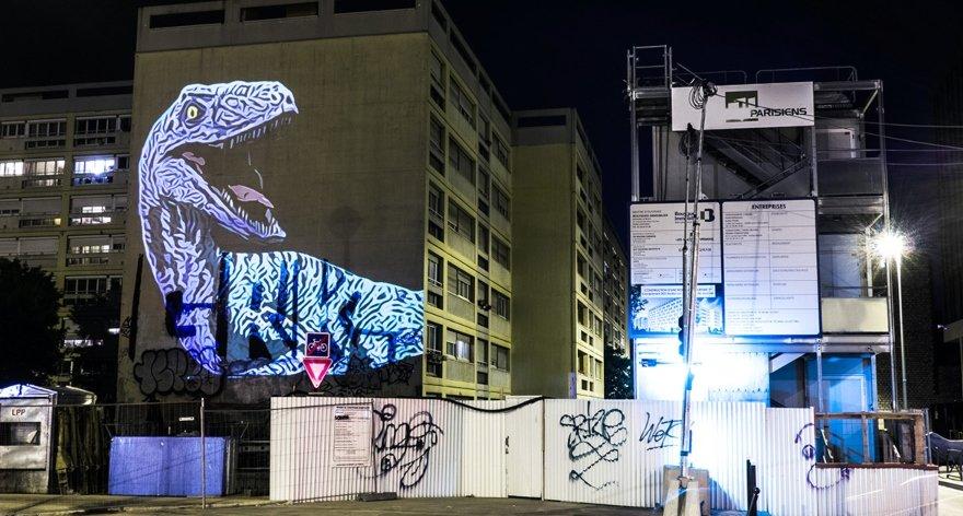 Instalación de dinosaurios invade las calles de París