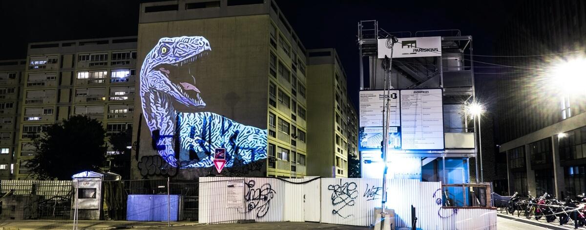 Dinosaur installation invades the streets of Paris