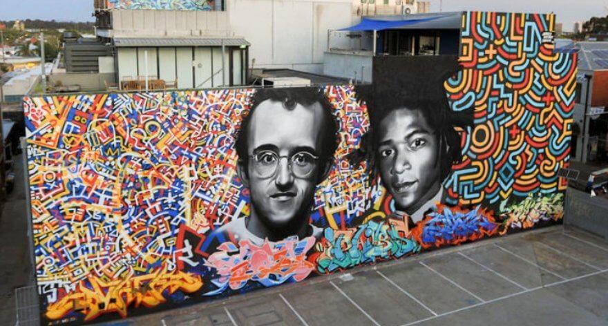 Keith Haring y Basquiat homenajeados en nuevo mural