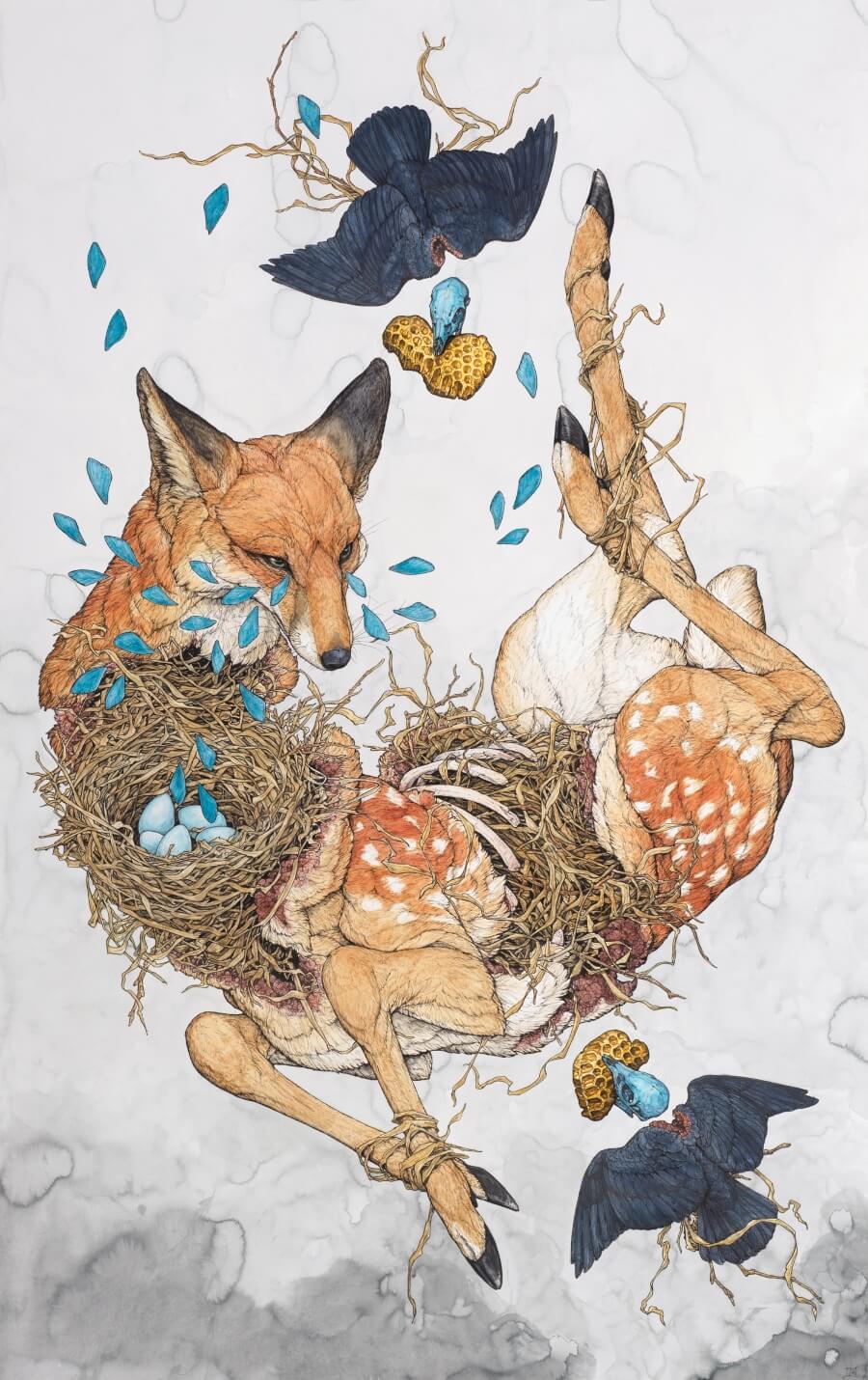 La artista crea mundos con fauna surrealista