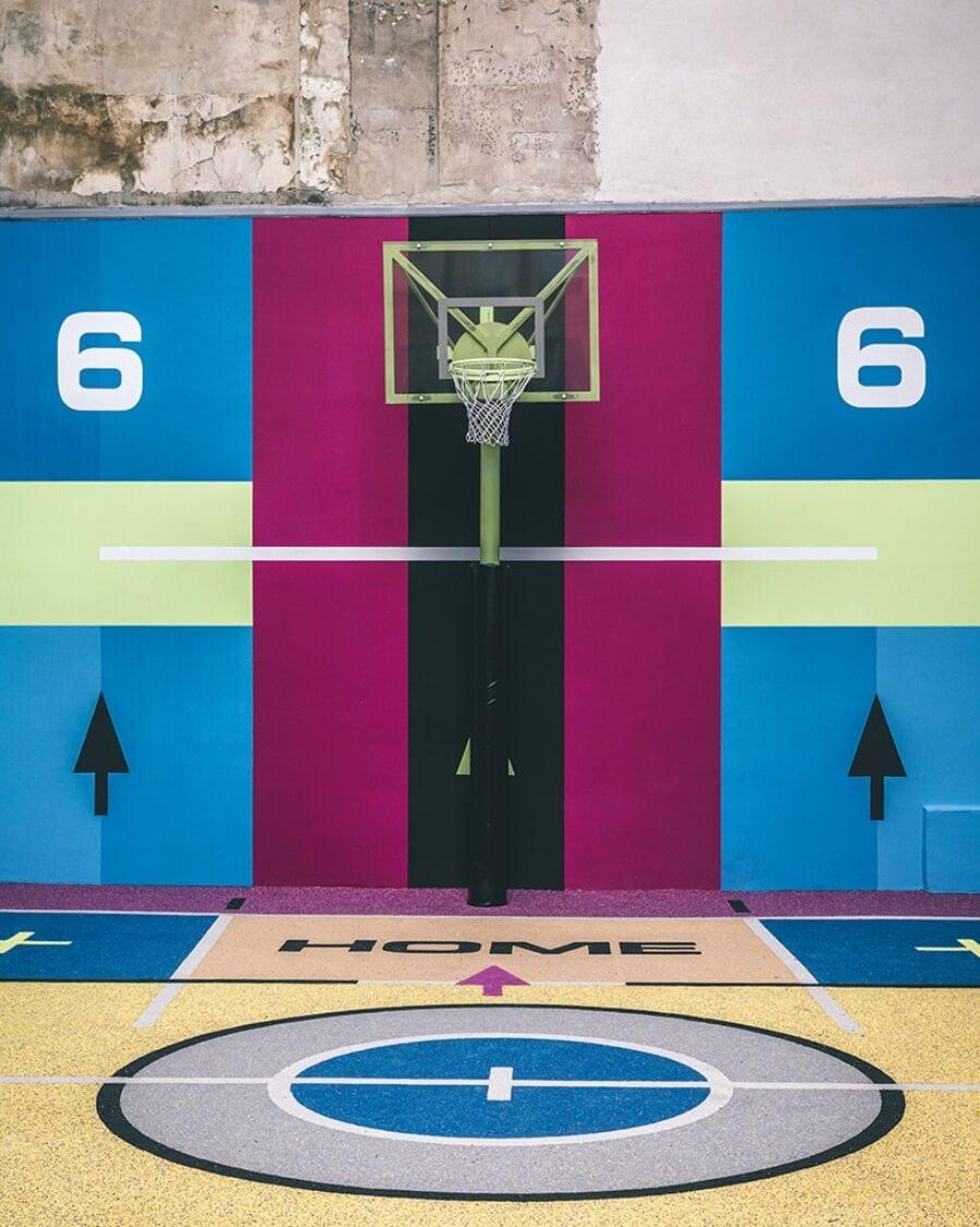 Pigalle, Nike e Ill Studio intervinieron cancha de básquetbol