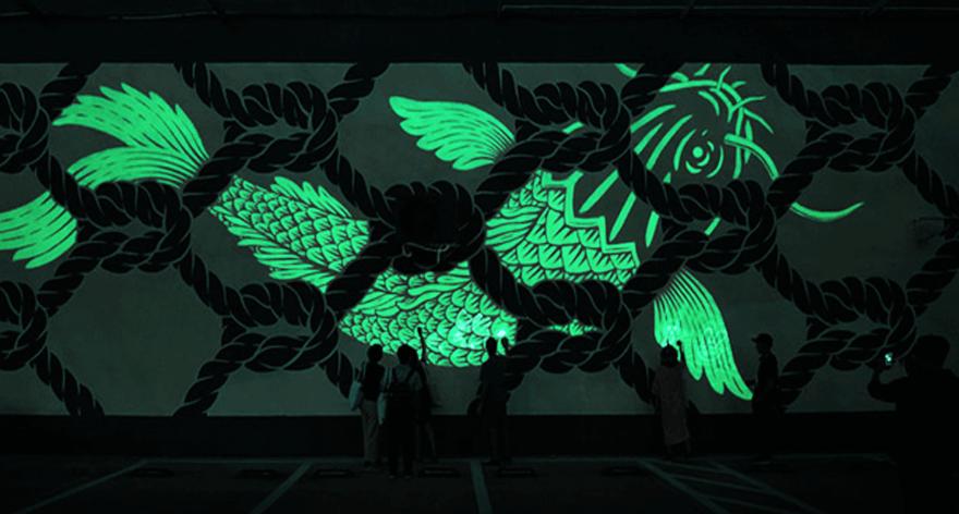 Reskate Studio presentó tres  murales flourescentes