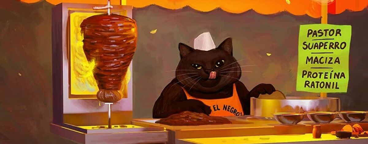 Coendú y sus pinturas de gatos mexicanos multitask
