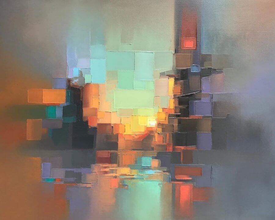 El artista plasma ambientes pixeleados