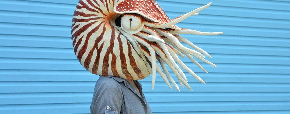 Liz Sexton evoca fauna con  máscaras de papel maché