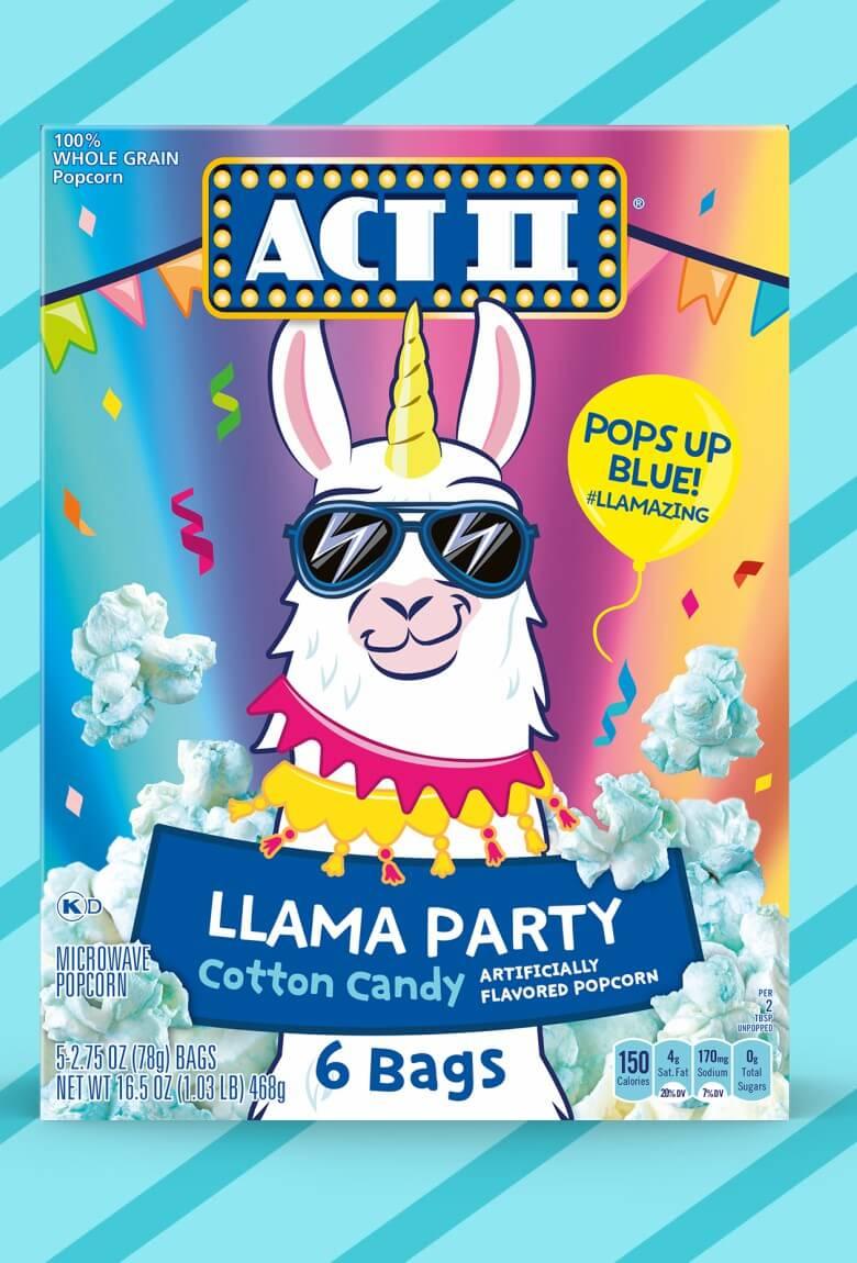 Llama Party, palomitas sabor algodón de azúcar