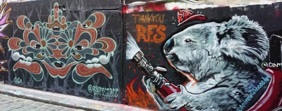 Murales que rinden tributo a los bomberos de Australia