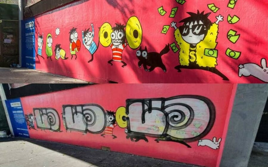 Zombra graffiteó mural de Sarah Andersen