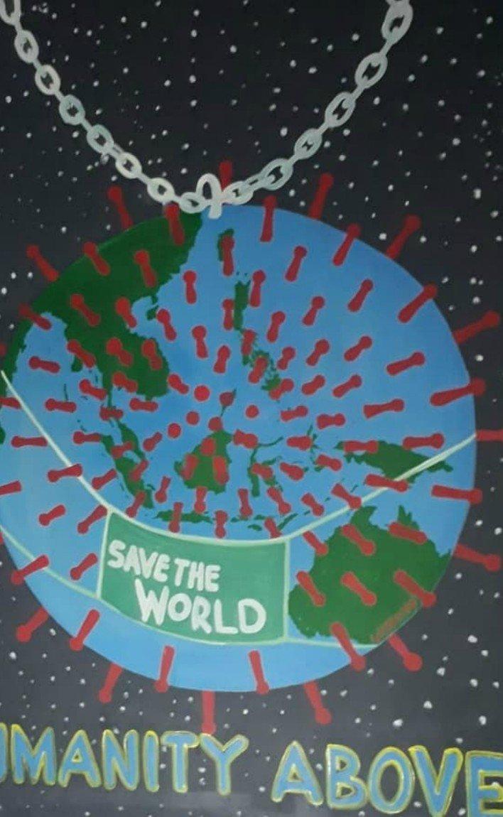 Artistas de Indonesia crean murales alusivos al coronavirus