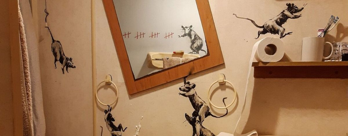 "Banksy and his new piece ""Rat Bathroom Installation"" in quarantine"