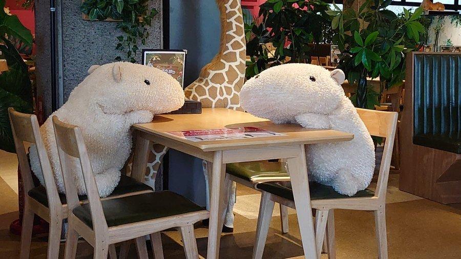 El zoológico implementó el uso de peluches para el sano distanciamiento