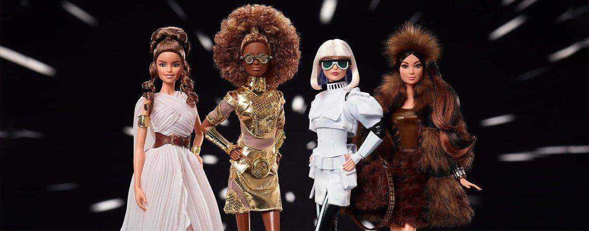 Barbie y Star Wars presentan cuatro muñecas galácticas