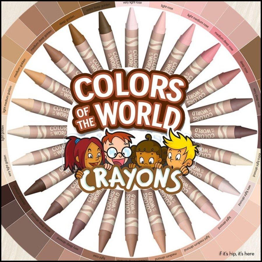 """Poster promocional de """"Colors of the World"""" de Crayola con crayones color piel"""
