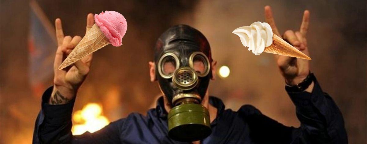 Helado con sabor a gas lacrimógeno