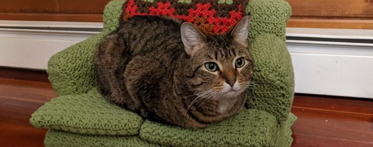 Sofás para gato hechos con tejido crochet