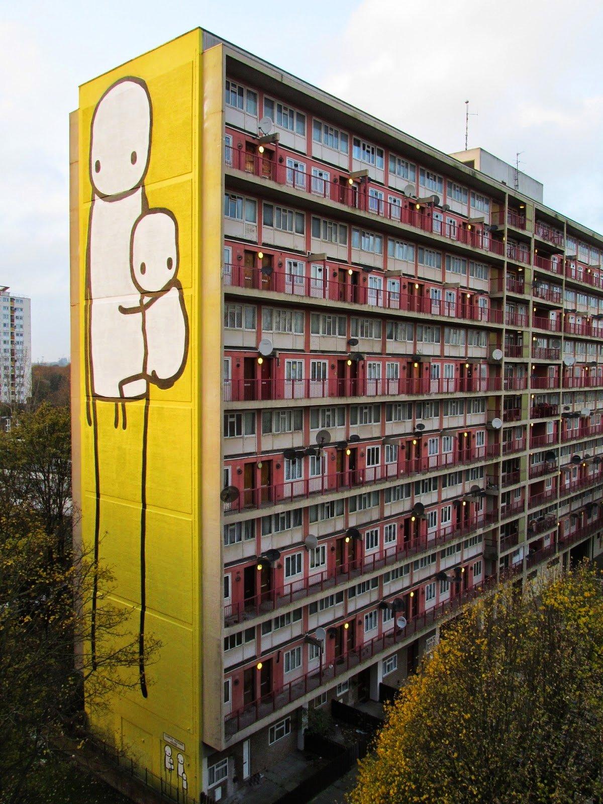 edificio con mural de Stik