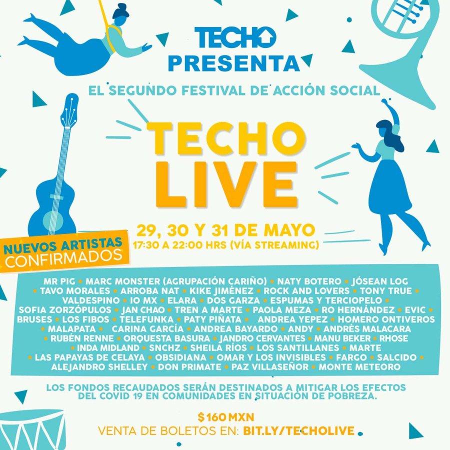 Line-Up de Techo Live, concierto beneico de Techo México