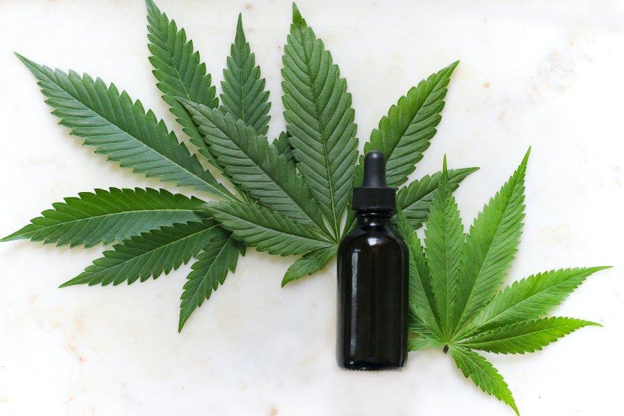 gotero con hojas de cannabis