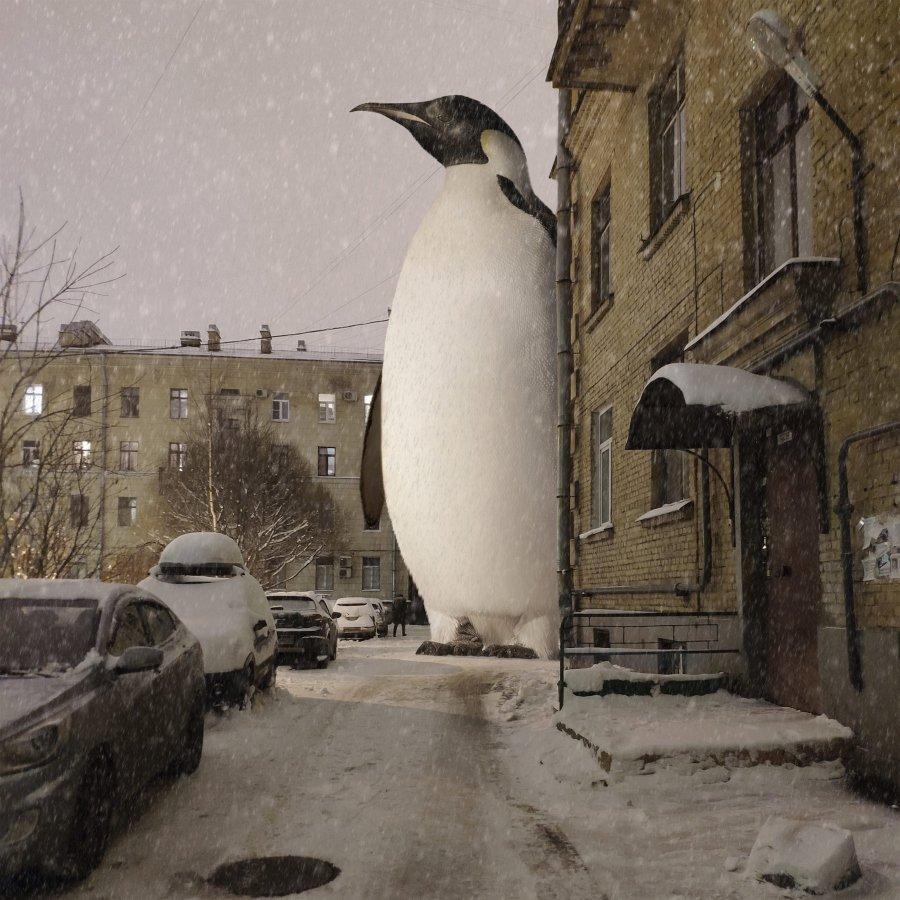 Vadm Soloyov sus los animales gigantes en San Petersburgo