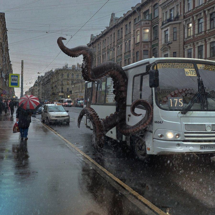 Vadim Solovyov sus los animales gigantes en San Petersburgo