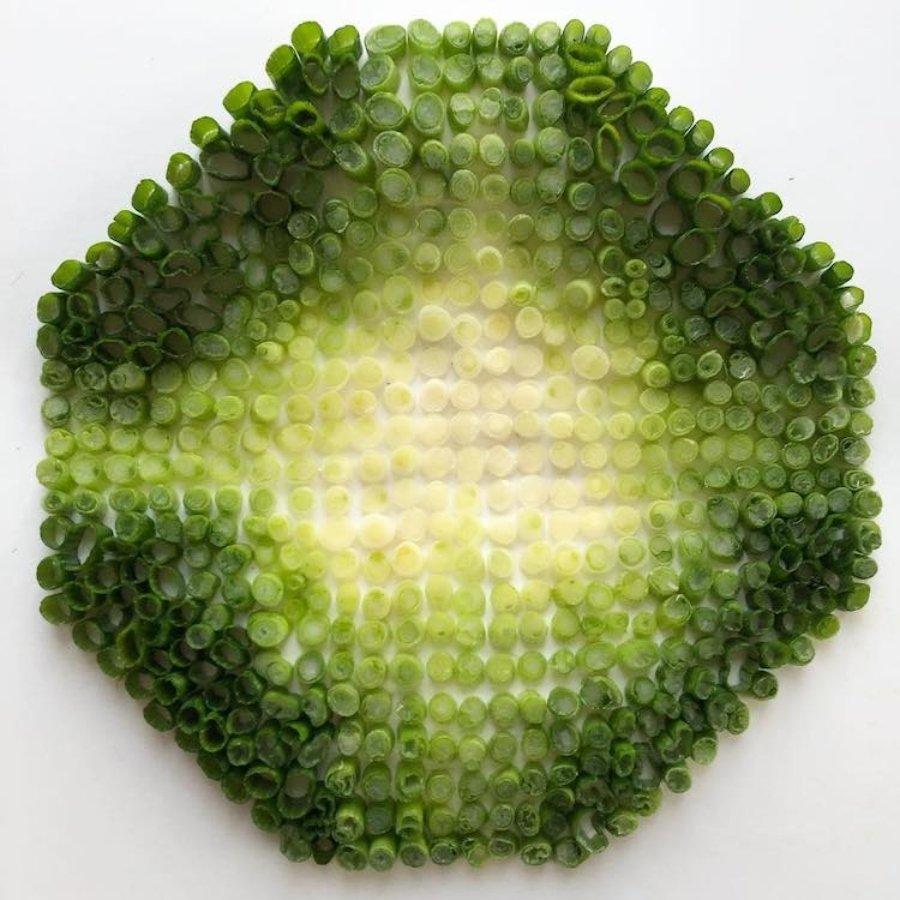 Composición con verduras verdes en degradado